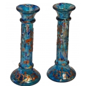 "8"" Round Blue Column Candles"