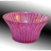 Light Magenta Fluted fruit bowl-side view