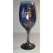 "Hand Painted Purple Tall ""Hagefen"" Wine Glass"